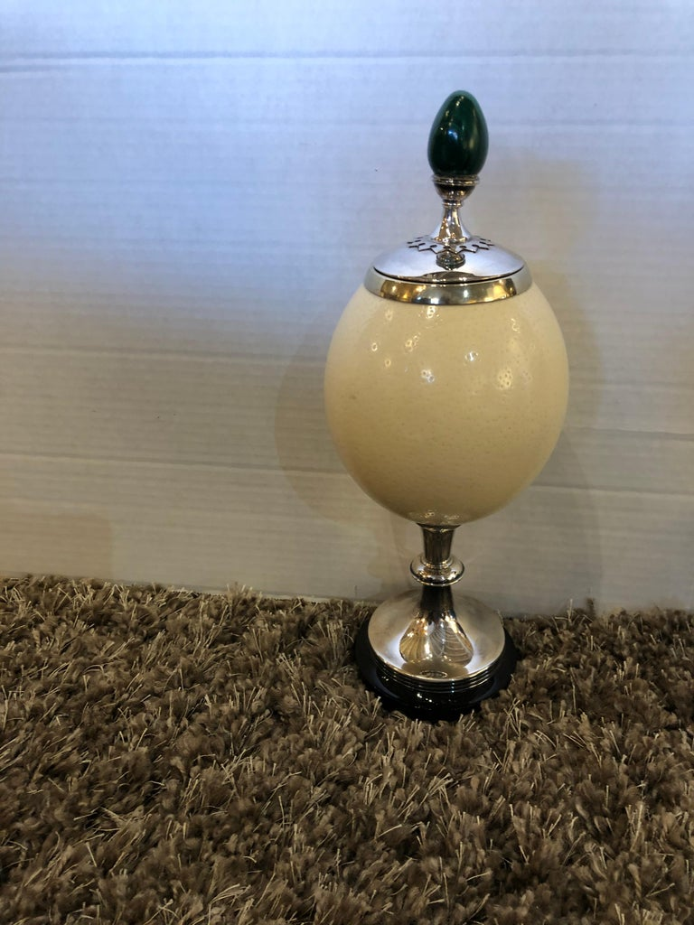 A J. Antony Redmile Ostrich Egg Box with Malachite Egg Finial For Sale 2