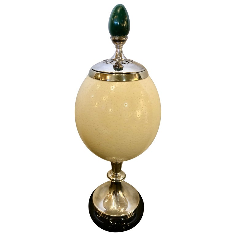 A J. Antony Redmile Ostrich Egg Box with Malachite Egg Finial For Sale