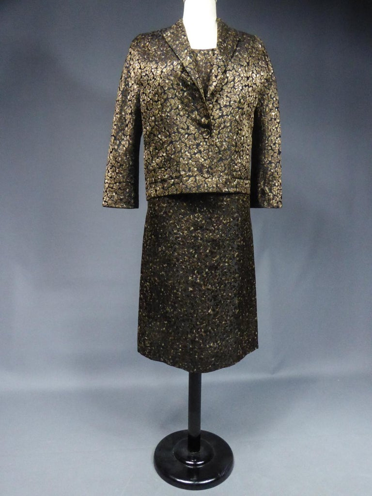 A Jacques Griffe French Couture Dress and Jacket Set Circa 1960 In Excellent Condition For Sale In Toulon, FR