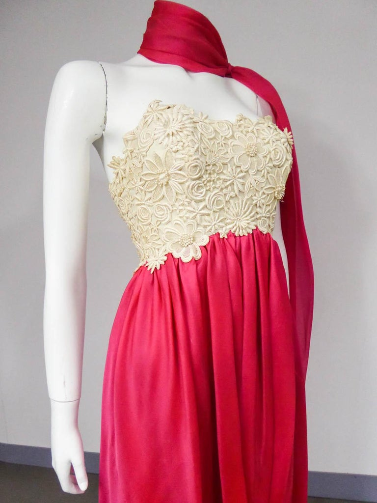 A Jacques Griffe French Couture Evening Dress in Muslin and Lace Circa 1958 For Sale 5