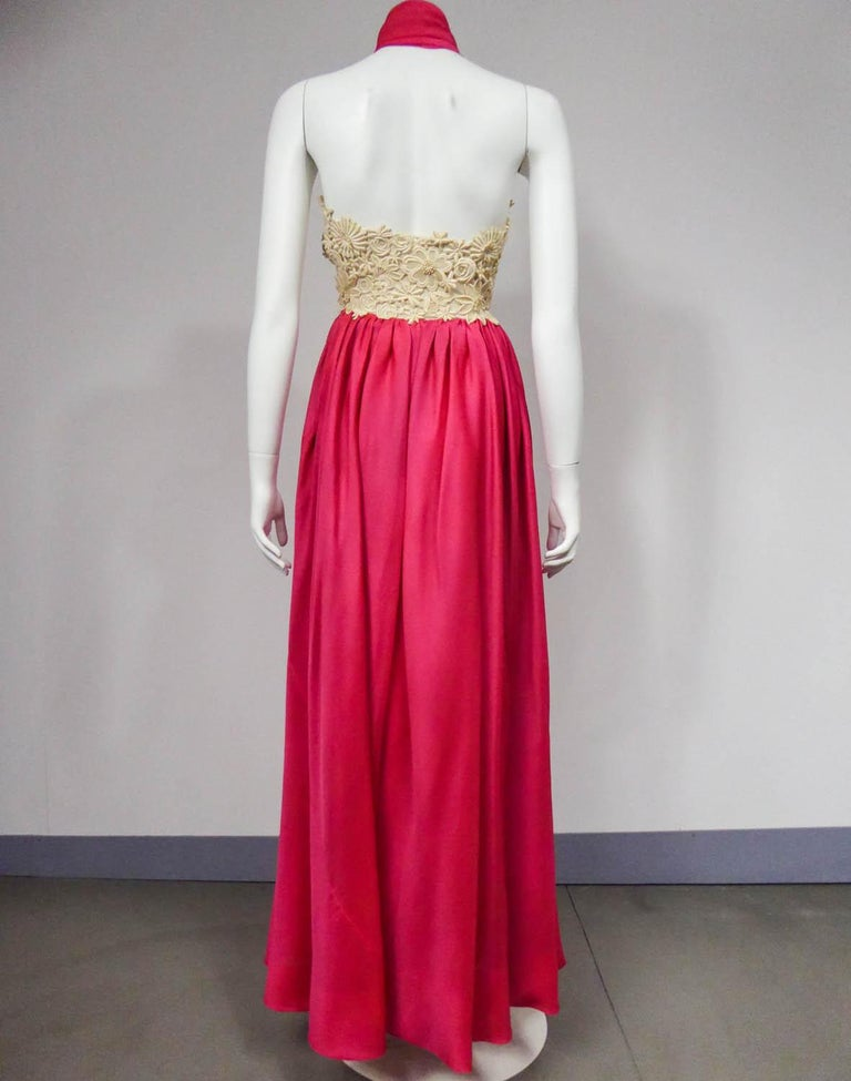 Red A Jacques Griffe French Couture Evening Dress in Muslin and Lace Circa 1958 For Sale