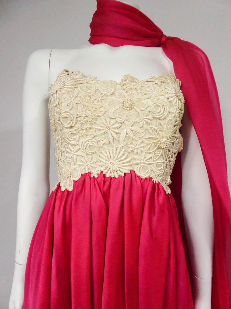 A Jacques Griffe French Couture Evening Dress in Muslin and Lace Circa 1958 For Sale 1