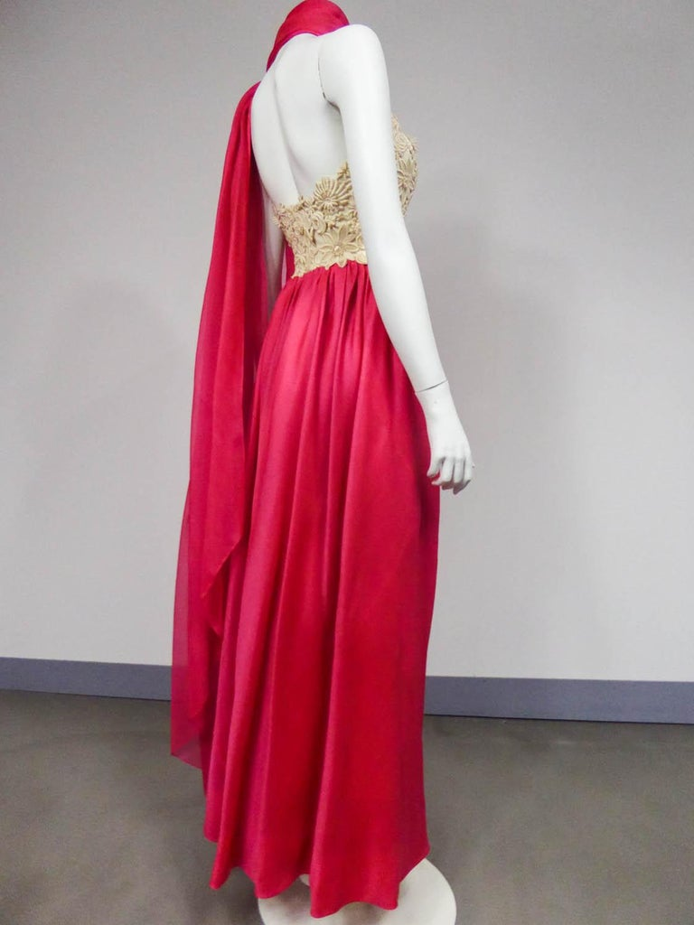 A Jacques Griffe French Couture Evening Dress in Muslin and Lace Circa 1958 For Sale 2