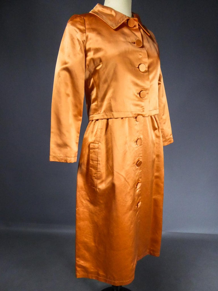 A Jacques Heim French Couture Mandarin Satin Silk Set Circa 1950/1960 For Sale 6