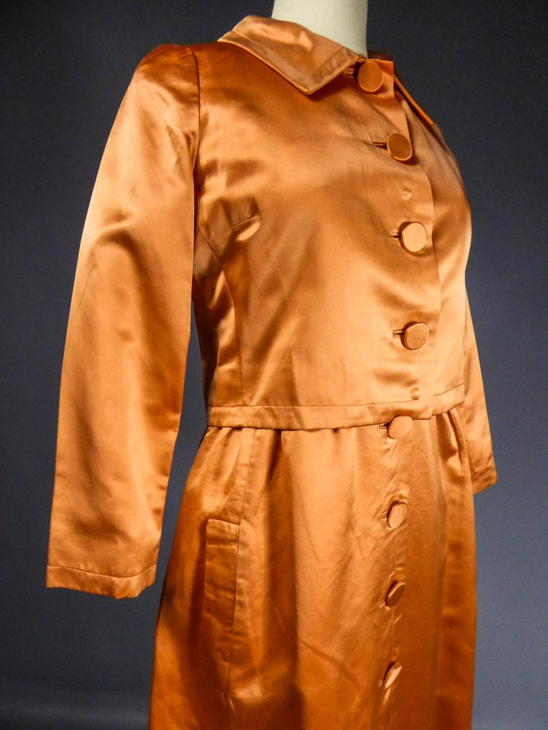 A Jacques Heim French Couture Mandarin Satin Silk Set Circa 1950/1960 For Sale 7