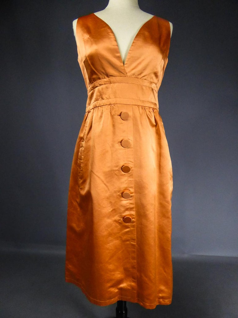 A Jacques Heim French Couture Mandarin Satin Silk Set Circa 1950/1960 For Sale 9