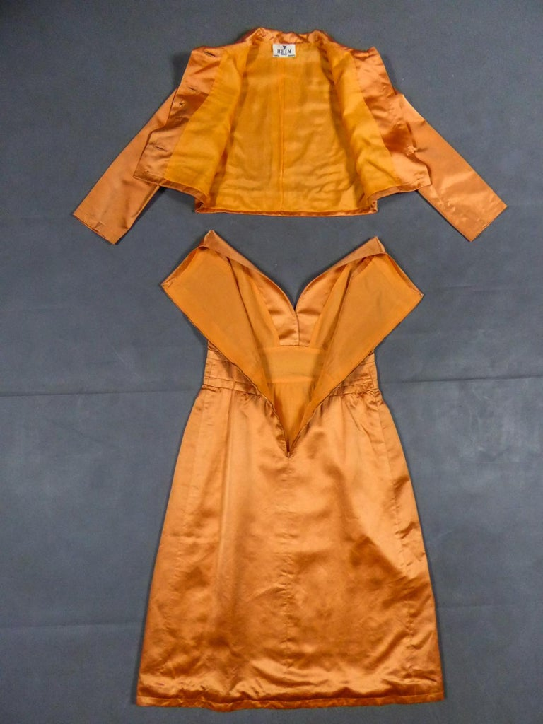 Brown A Jacques Heim French Couture Mandarin Satin Silk Set Circa 1950/1960 For Sale