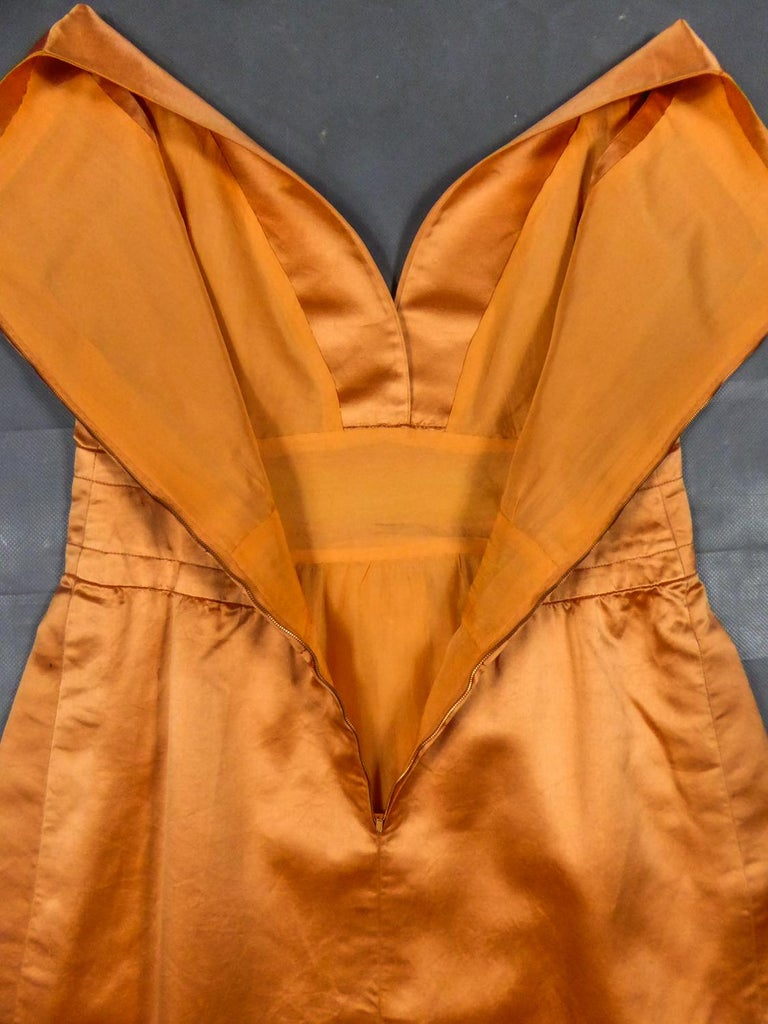A Jacques Heim French Couture Mandarin Satin Silk Set Circa 1950/1960 In Excellent Condition For Sale In Toulon, FR