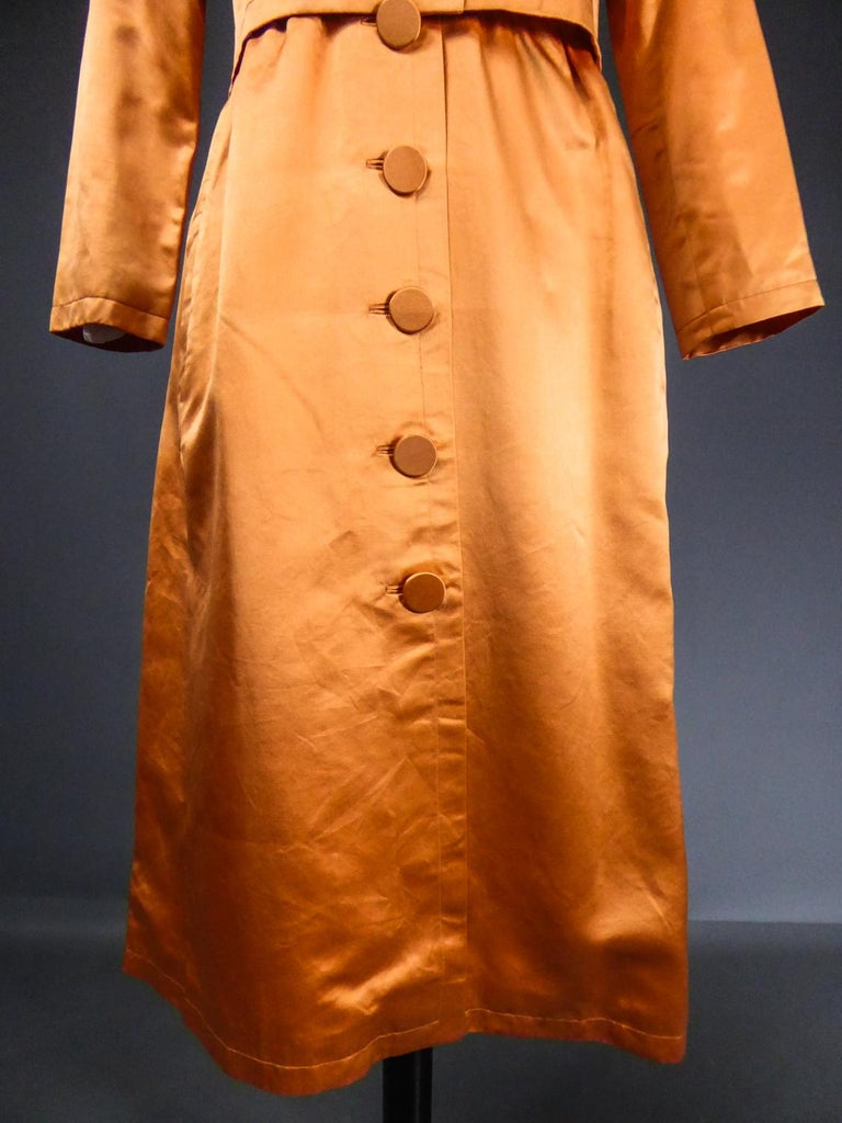 A Jacques Heim French Couture Mandarin Satin Silk Set Circa 1950/1960 For Sale 1