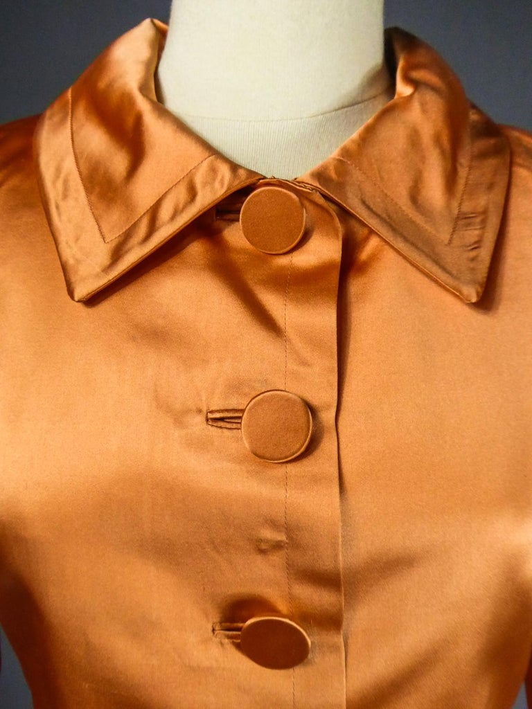 A Jacques Heim French Couture Mandarin Satin Silk Set Circa 1950/1960 For Sale 3