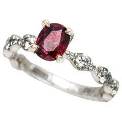A. Jaffe 1.87 Carat 14 Karat White Gold Ruby Diamond Engagement Ring
