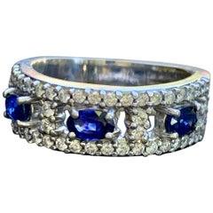 A. Jaffe Band Style Blue Sapphire and Diamond 18 Karat White Gold Ring