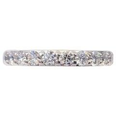 A. JAFFE Round 10 Diamond Signature Wedding Band Ring 18 Karat White Gold
