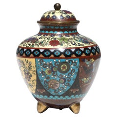Japanese Cloisonne Vase and Cover, Meiji Period