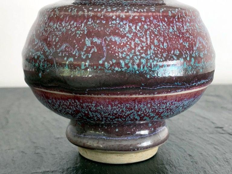 Ceramic Asian Flambe Studio Pottery Vase For Sale