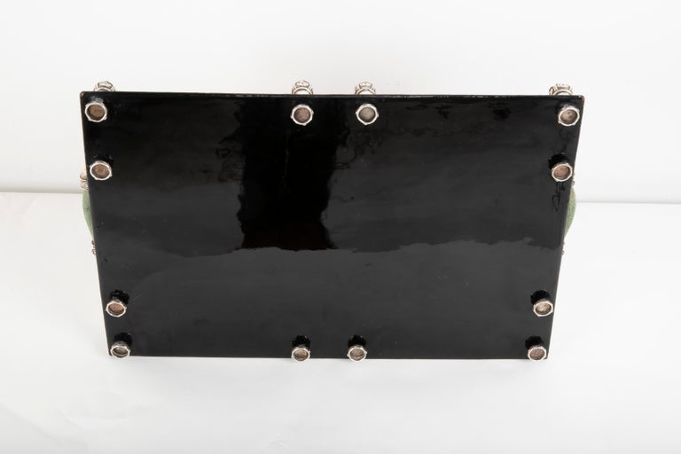 Japanese Lacquer Tray with Shagreen and Silver Gallery For Sale 8