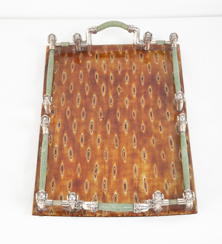 Japanese Lacquer Tray with Shagreen and Silver Gallery For Sale 4