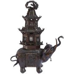 Japanese Meiji Period Bronze Elephant