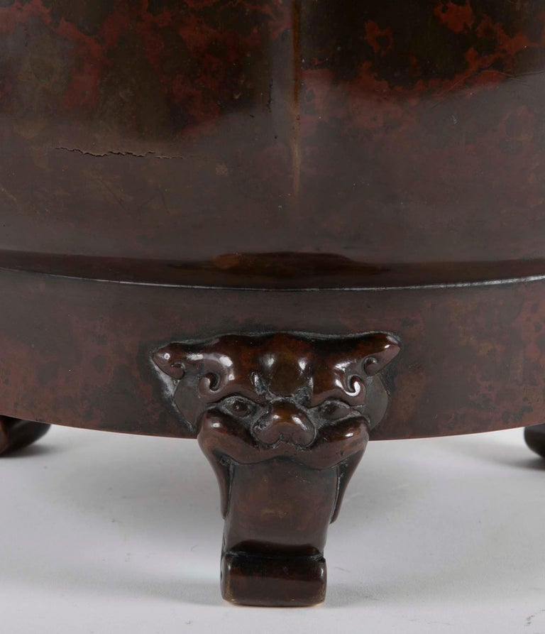 19th Century A Japanese Meiji Period Patinated Bronze Censer   For Sale