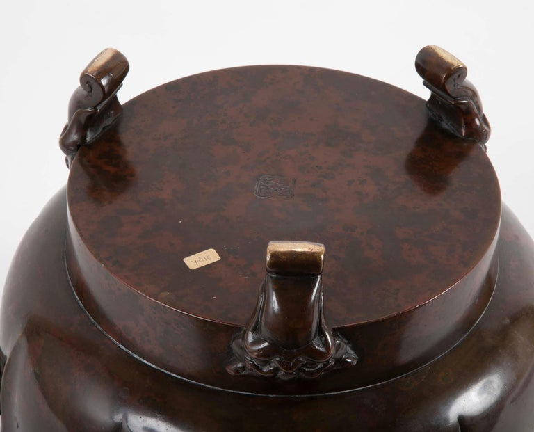 A Japanese Meiji Period Patinated Bronze Censer   For Sale 4