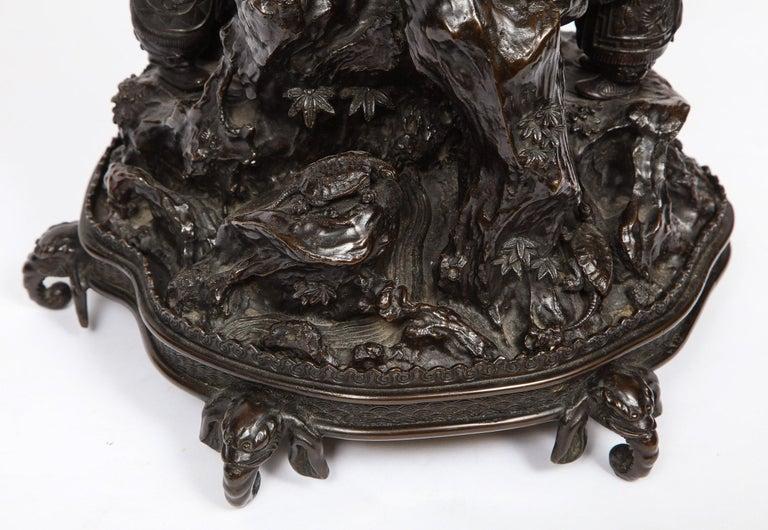 Japanese Patinated Bronze Figural Clock Vase, Meiji Period For Sale 7