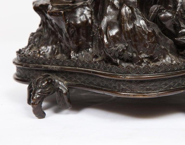 Japanese Patinated Bronze Figural Clock Vase, Meiji Period For Sale 14