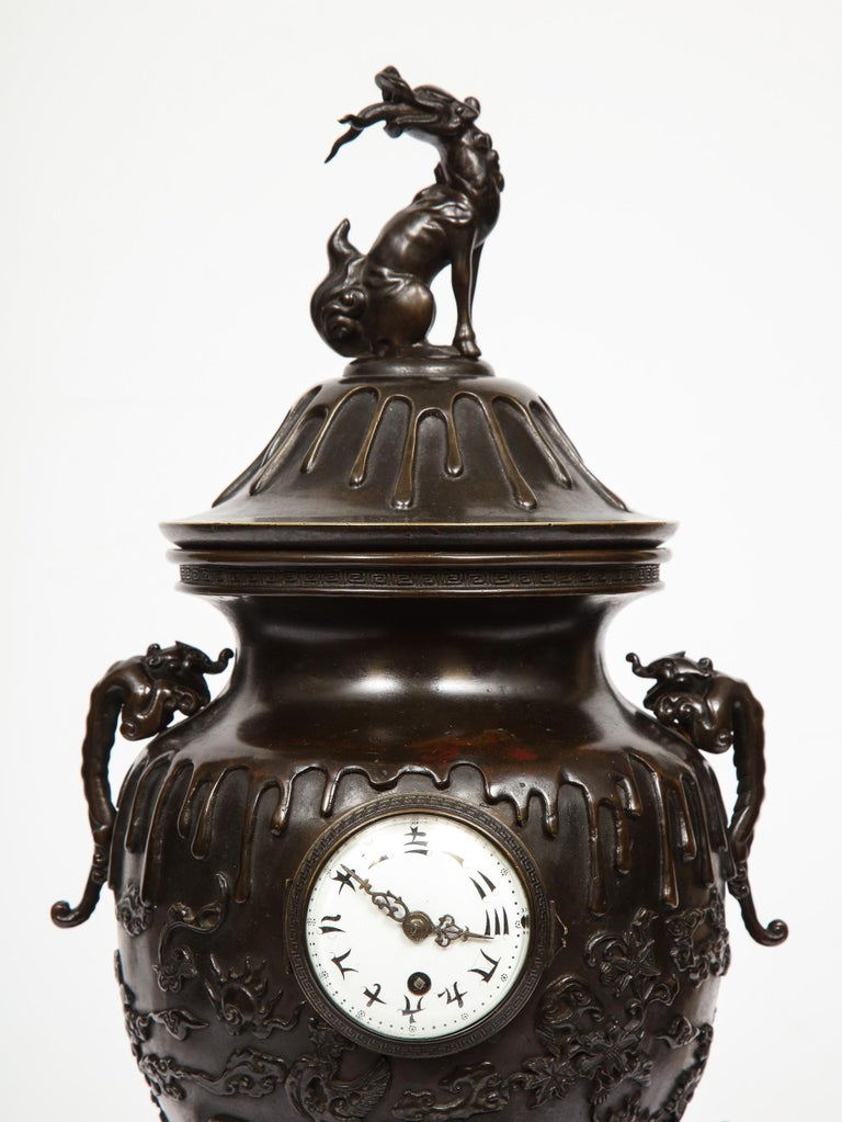 Japanese Patinated Bronze Figural Clock Vase, Meiji Period In Good Condition For Sale In New York, NY
