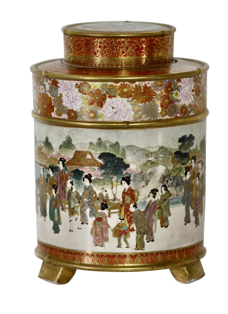 Japanese Satsuma Cylindrical Koro and Cover, Signed Gyokuzan, Meiji Period For Sale 5