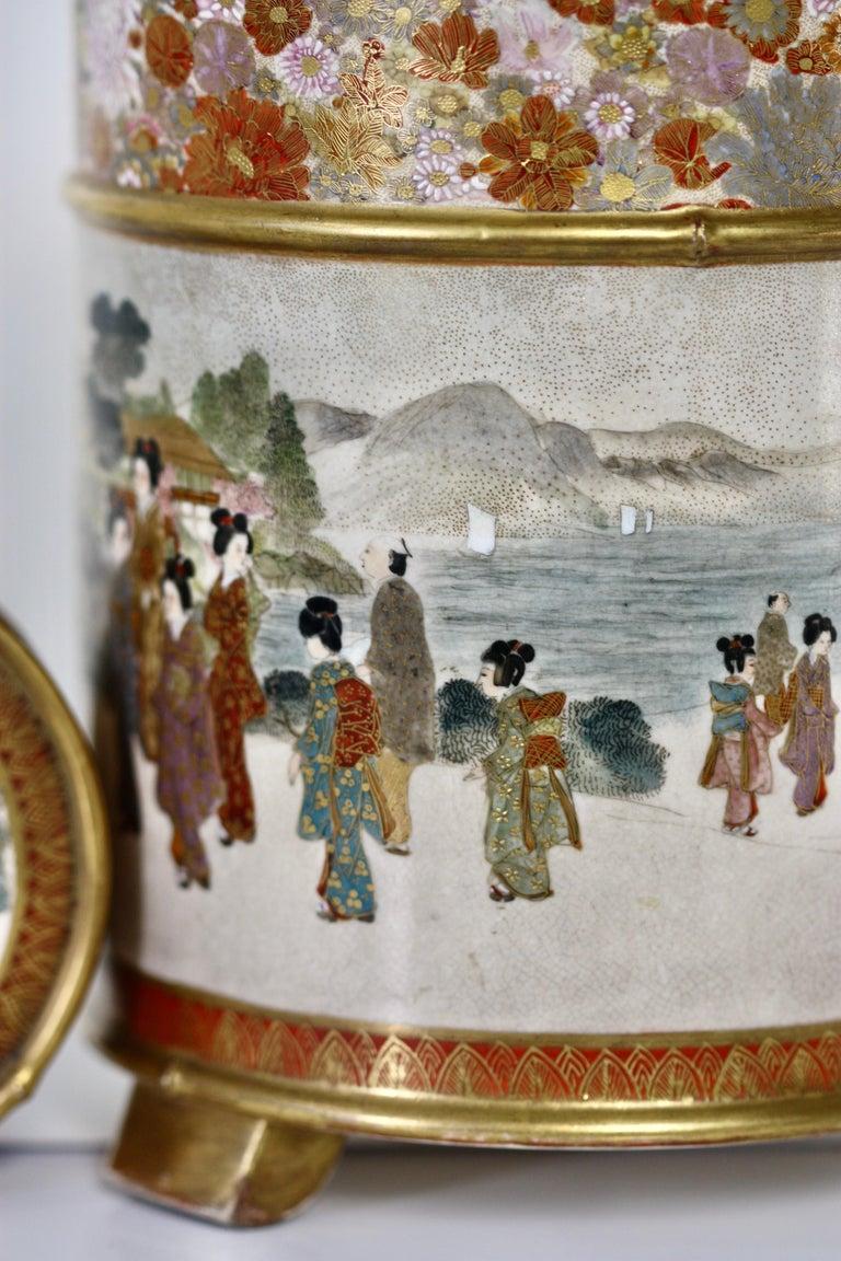 19th Century Japanese Satsuma Cylindrical Koro and Cover, Signed Gyokuzan, Meiji Period For Sale