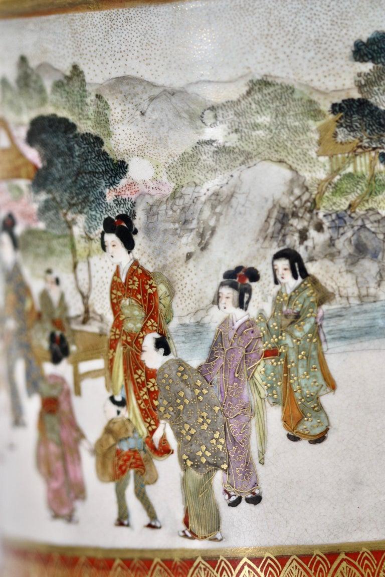 Japanese Satsuma Cylindrical Koro and Cover, Signed Gyokuzan, Meiji Period For Sale 1
