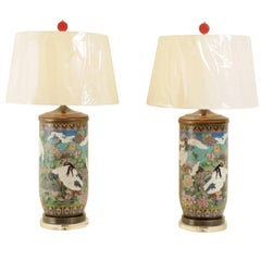 Jaw-Dropping Pair of Large-Scale Vintage Cloisonne Vessels as Custom Lamps