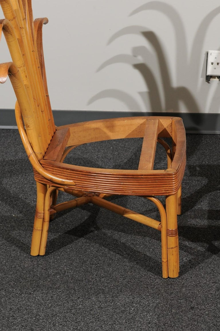 Jaw-Dropping Set of 8 Custom Made Palm Frond Dining Chairs, circa 1950 For Sale 5