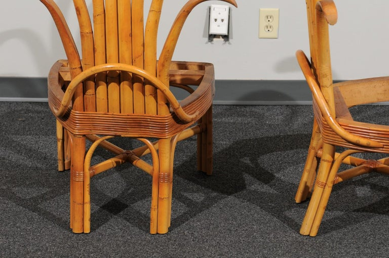 Jaw-Dropping Set of 8 Custom Made Palm Frond Dining Chairs, circa 1950 For Sale 6