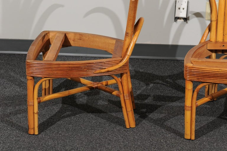 Jaw-Dropping Set of 8 Custom Made Palm Frond Dining Chairs, circa 1950 For Sale 7