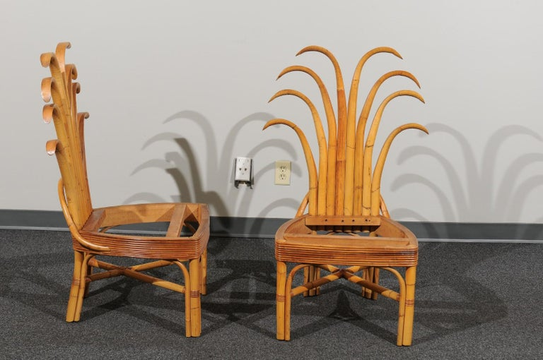 Jaw-Dropping Set of 8 Custom Made Palm Frond Dining Chairs, circa 1950 For Sale 12