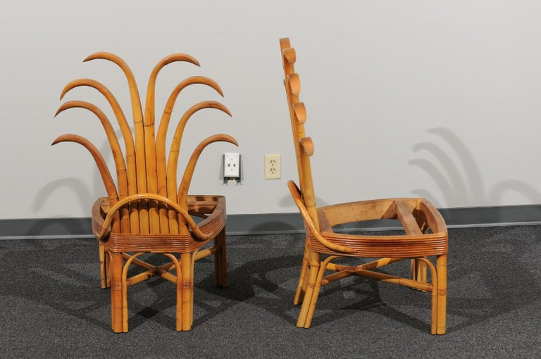 Unknown Jaw-Dropping Set of 8 Custom Made Palm Frond Dining Chairs, circa 1950 For Sale