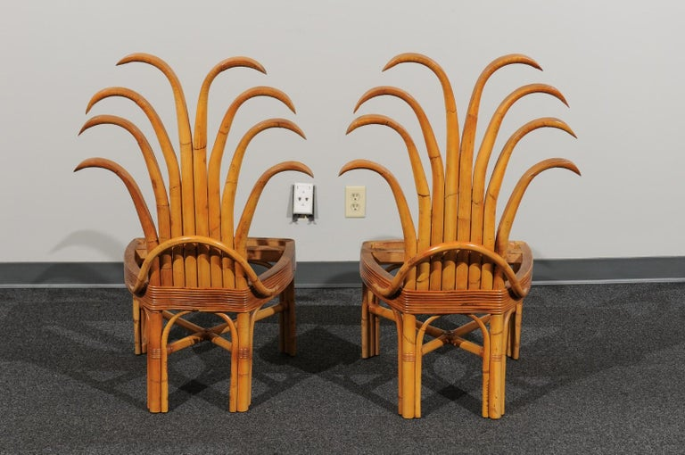 Jaw-Dropping Set of 8 Custom Made Palm Frond Dining Chairs, circa 1950 In Excellent Condition For Sale In Atlanta, GA