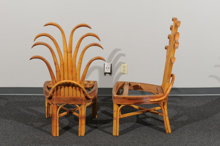 Mid-20th Century Jaw-Dropping Set of 8 Custom Made Palm Frond Dining Chairs, circa 1950 For Sale