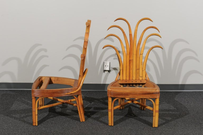Cane Jaw-Dropping Set of 8 Custom Made Palm Frond Dining Chairs, circa 1950 For Sale