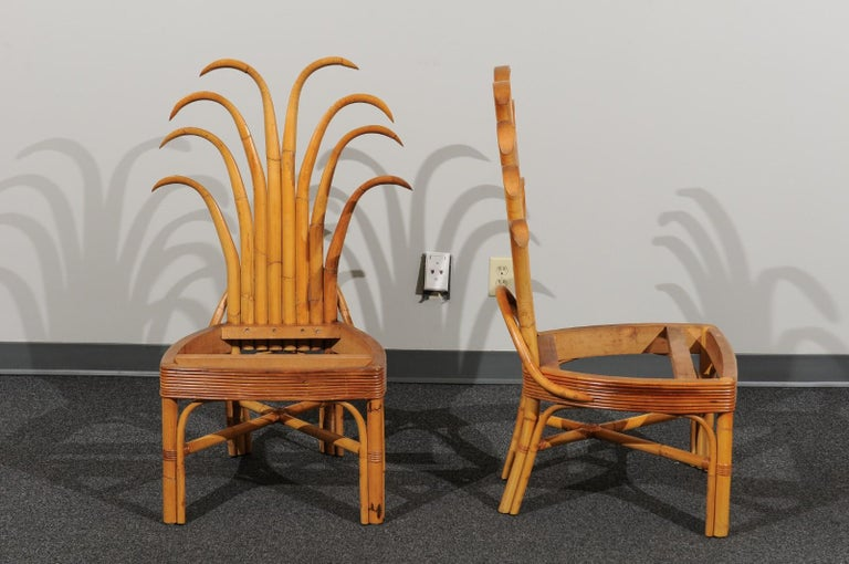 Jaw-Dropping Set of 8 Custom Made Palm Frond Dining Chairs, circa 1950 For Sale 1