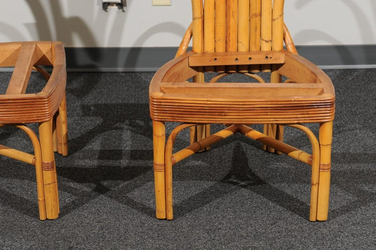 Jaw-Dropping Set of 8 Custom Made Palm Frond Dining Chairs, circa 1950 For Sale 2