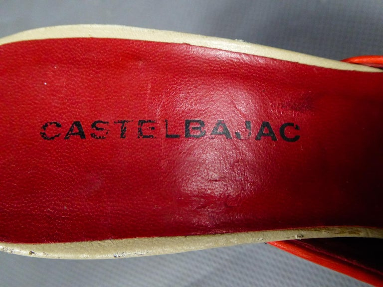 A Jean-Charles de Castelbajac Pair of Mules Circa 1990 In Excellent Condition For Sale In Toulon, FR