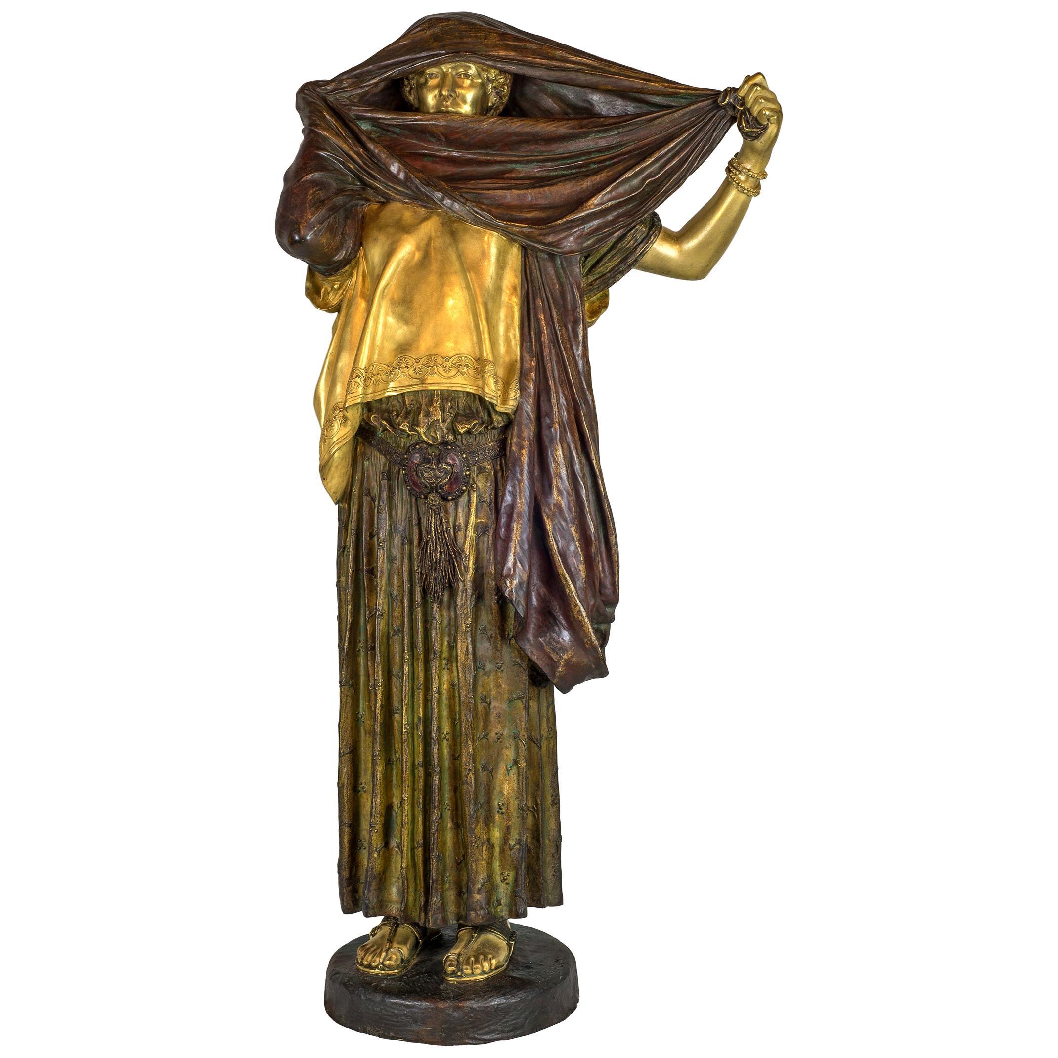 Jean Leon Gerome Orientalist Gilt and Polychrome-Patinated Bronze Sculpture