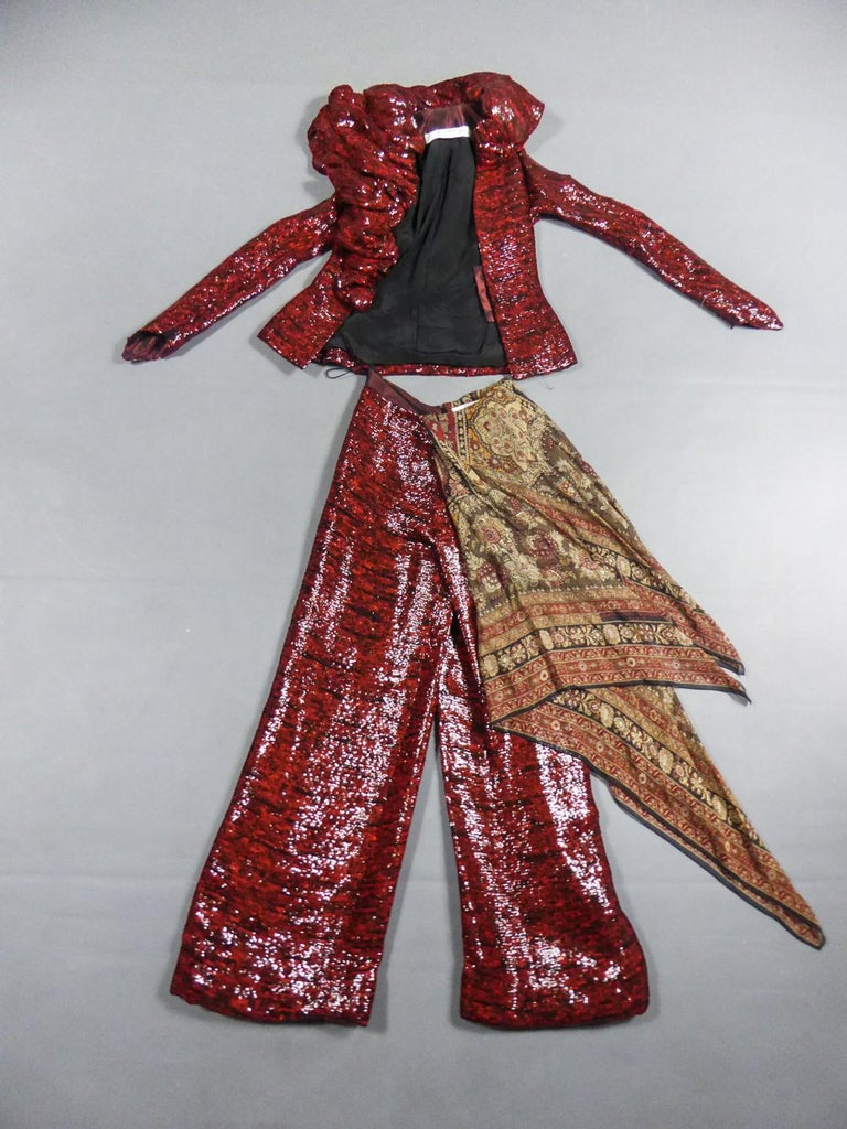 Fall Winter Collection 2001-2002 France  Jacket and pants set for Haute Couture Fashion Show- Look n ° 13 by Jean-Louis Scherrer - Stéphane Rolland, Fall Winter Collection 2001-2002. Astonishing marriage of red and black sequin embroidery and silk