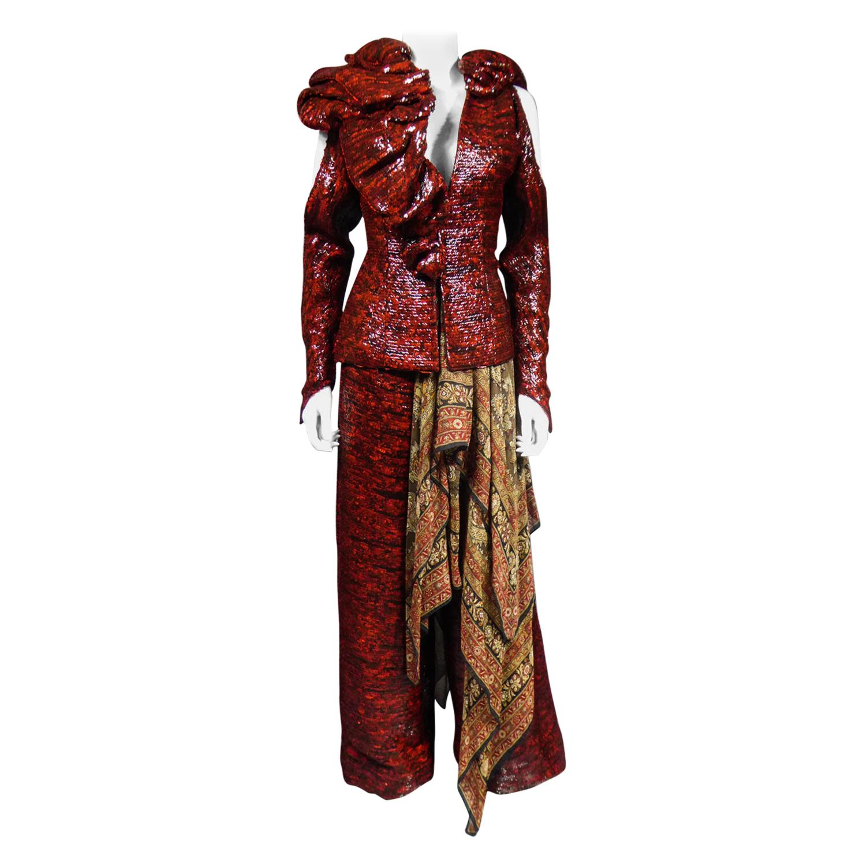 A Jean-Louis Scherrer Jacket and Pants Set for Fashion Show Winter 2001-2002