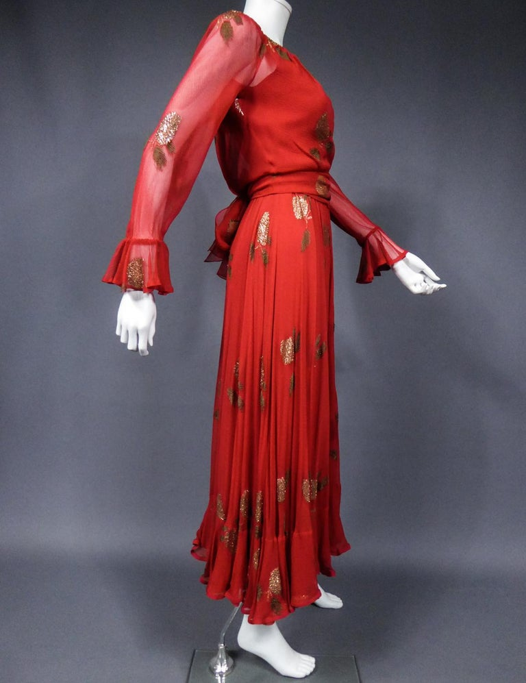A Jean Patou French Couture Dress Numbered 98427 in Lamé Crepe Collection 1974 For Sale 6