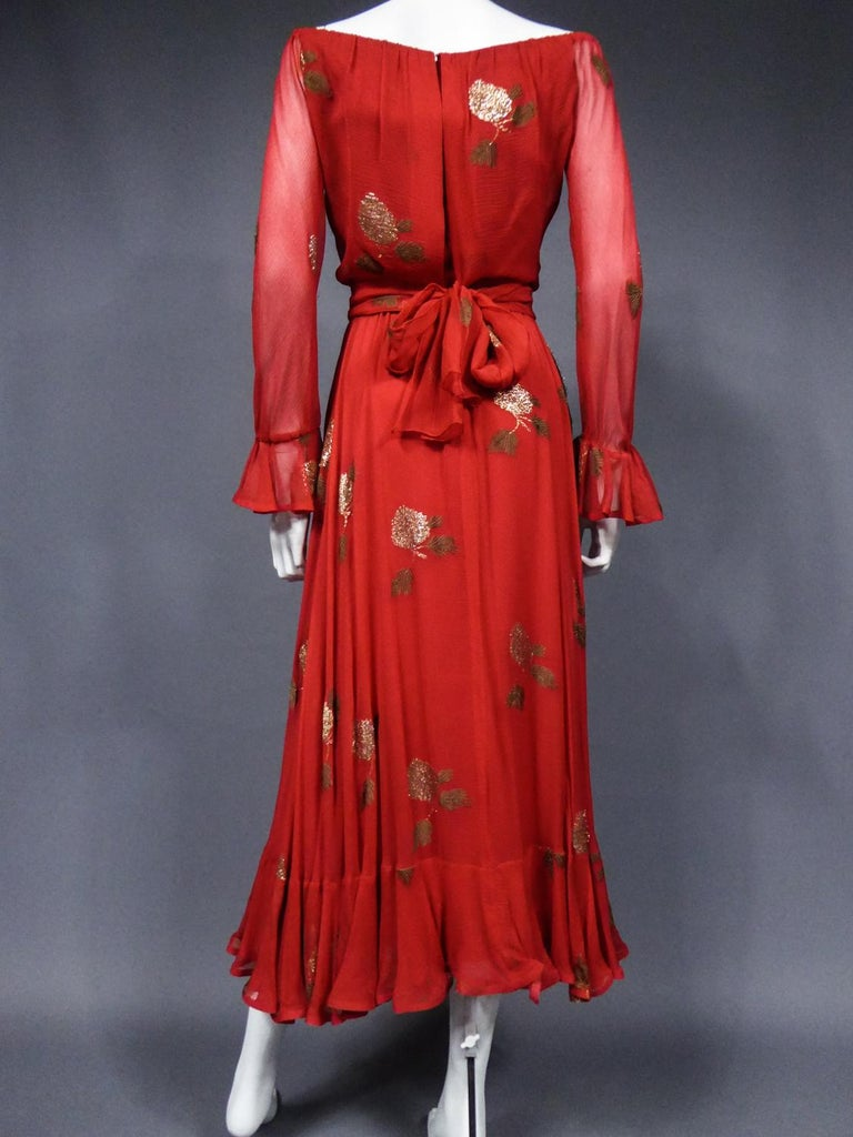 A Jean Patou French Couture Dress Numbered 98427 in Lamé Crepe Collection 1974 For Sale 7