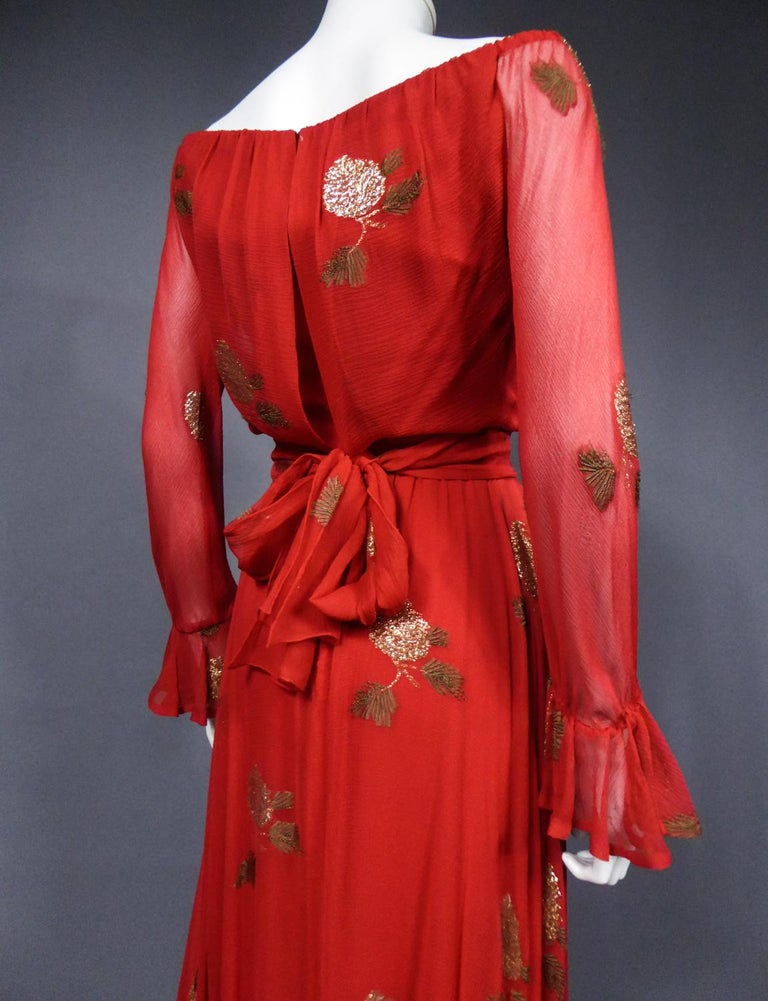 A Jean Patou French Couture Dress Numbered 98427 in Lamé Crepe Collection 1974 For Sale 9