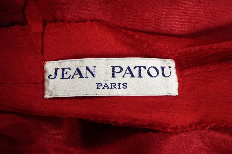 Red A Jean Patou French Couture Dress Numbered 98427 in Lamé Crepe Collection 1974 For Sale