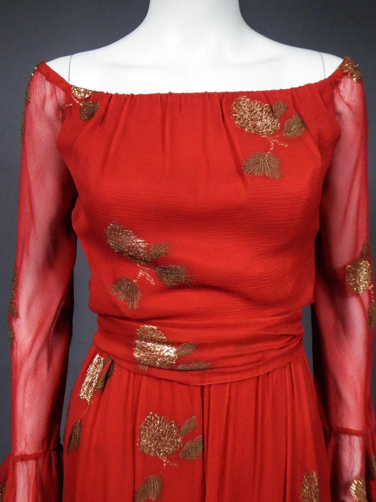 Women's A Jean Patou French Couture Dress Numbered 98427 in Lamé Crepe Collection 1974 For Sale